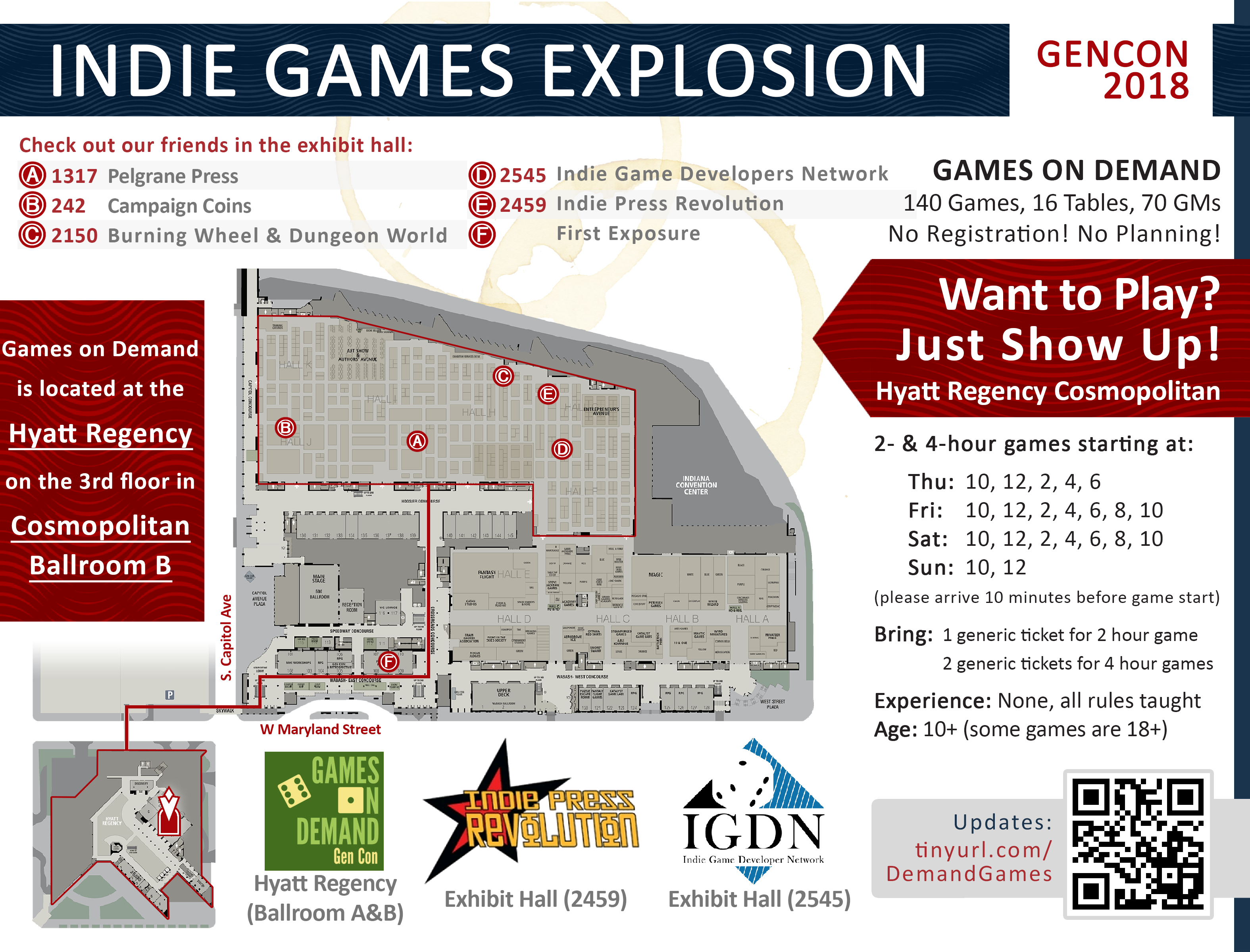 Map to Games on Demand at GenCon Gencon Map on anime expo map, pennsic map, history map, necc map, pax map, sxsw map, dragon con map, origins map, rhinebeck map,